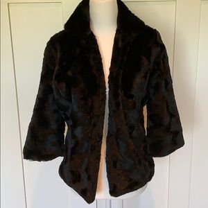 MERONA BLACK GLAM FAUX FUR JACKET